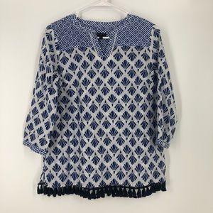 Talbots Petite small blue tassel blouse